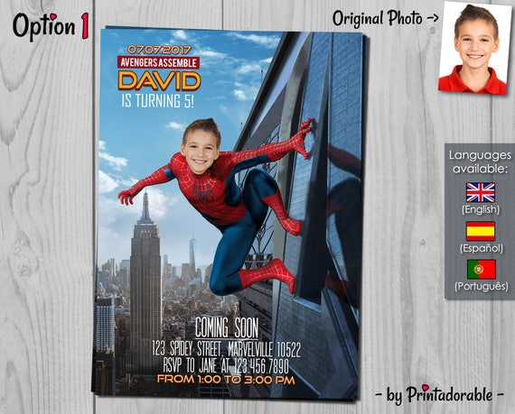 Spiderman Invitation - Amazing Spider-man Homecoming Birthday Invite - Marvel Invitations with photo