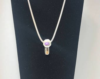 Sugilite tourmaline and sterling silver pendant
