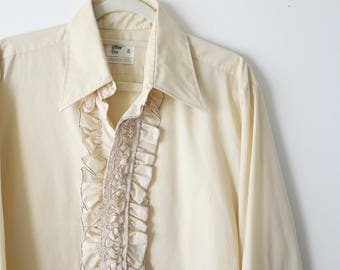 Vintage 1970's Cream Ruffled Long Sleeve Button Up Prom Dress Shirt Size L