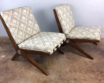 Pierre Jeanneret Sissor Lounge Chair Pair