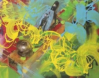 Hand Plane, Original Acrylic Painting, Horizontal Format Painting, Vintage Tool, Woodworking Art, Tool Art, Bench Plane Wall Art, Jack Plane