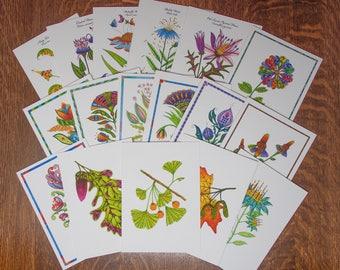 Greeting card set, buy 3 get 1 free, botanical stationary set,  floral card assortment, handmade flower cards, discount card set, folk art