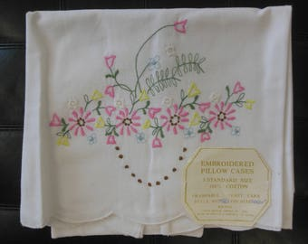 Set of Embroidered Pillowcases from the 1970s