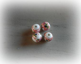 4 white ceramic patterned flowers 12 mm round beads