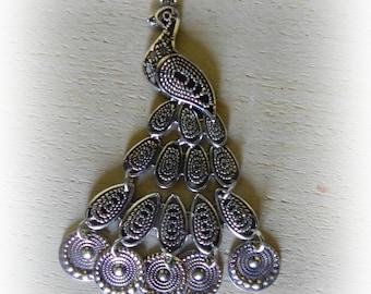 Pendant Peacock silver 74 * 46 mm