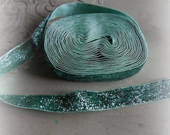 2 meters of glittery Green Velvet Ribbon 16 mm
