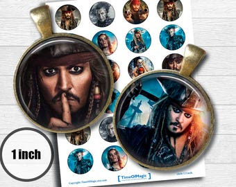 """Pirates of the Caribbean 2017  Digital Collage Sheet 1"""" inch 25mm Bottlecap Printable Download for pendants magnets cupcake toppers birthday"""
