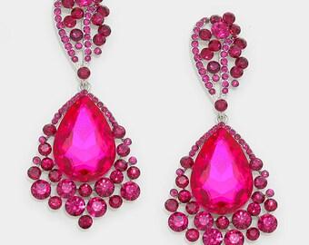 Crystal Earrings   E033487   Big Earrings   Large Earrings   Pageant Earrings   Bling Jewelry