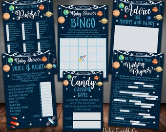 Outer Space Planets Baby Shower Games Package Bundle, Bingo, What's in Your Purse, Nursery Rhymes, Candy Guessing, Price is Right #586