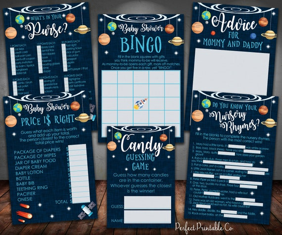 Outer Space Planets Baby Shower Games Package Bundle Bingo