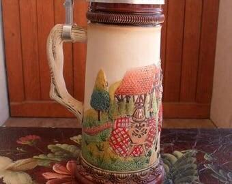 ON SALE German Stein, Beer Stein, Hand Painted