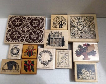 Vintage rubber stamp grab bag Christmas #4