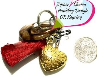 Claret red Tassel Key Ring, Copper Bag Charm, Gold Heart Dangle, Variety Key Ring, On Trend Gift, Stylish Gift, Teacher Xmas Gift,