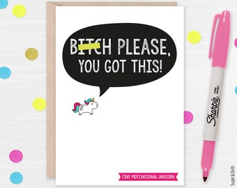 Unicorn Good Luck Card, You Got This, Funny Exam Card, Graduation Card, Interview Card, Good Vibes Card, Good Luck Card, Motivational Cards
