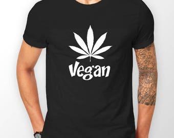 Mens Designer Vegan Weed Printed Cotton Black T-Shirt