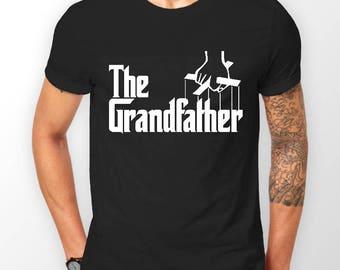 Mens Designer The Grandfather Printed Cotton Black T-Shirt