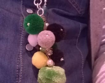Pendant with pom poms, crystals and semiprecious stones