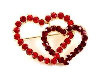 Romantic Red Double Hearts Crystal Valentine Brooch