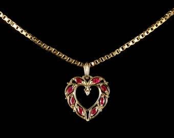 Ruby Diamond Heart Gold Pendant 9ct Gold Chain