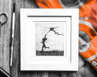Oil painting original artwork fine art wall art mono-print kite limited edition contemporary black and white painting