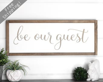 "Guest Room Sign, Guest Room Wall Decor, Be Our Guest Sign, Farmhouse Sign White, Rustic Wood Signs Living Room, Wood Framed Signs 25"" x 9.5"""