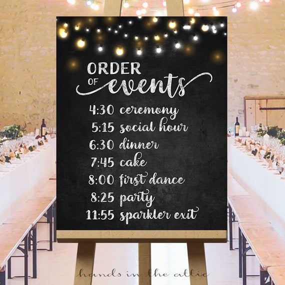 order events timeline printable sign reception chalkboard cocktail ceremony personalized schedule digital party vendors