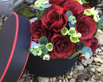 Beautiful artificial red rose hand-tied arrangement set in a classic hat box, special occasion  collection. Wedding hand-tied.