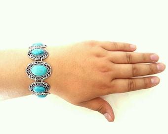 Turquoise bracelet, valentine present for girlfriend, link bracelet