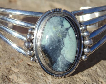 Running Bear - Southwestern Sterling Silver and Stone 4 Band Cuff Bracelet  - 24 Grams