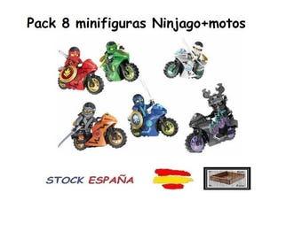 Pack 6 minifigure ninjago +  motorcycle compatible lego Superheroes