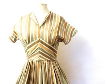 Cute 1950's Cotton Brown & Yellow Stripe Day Dress Rockabilly/jive/swing