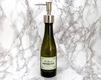 Mini Prosecco Bottle Soap Pump Dispenser (Water Repellent Label) Upcycled Bottle