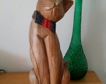 Wooden Large Carved Cat Statue