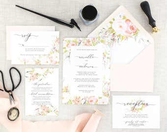Pink Floral Wedding Invitation with Watercolor - Romantic Wedding Invitation with Envelope - Garden Wedding Invitations Printed - Set of 10