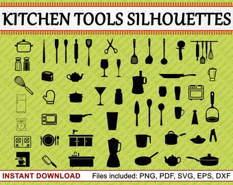 Kitchen Tools Silhouette, Set of 53 Commercial Use Clipart, Kitchen Tools Clipart, Utensil Clipart, Crockery, jpg pdf png eps dxf svg files