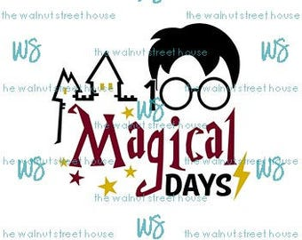 SVG - 100 Magical Days SVG,  all grades jpg, png & dxf included. downloadable file only, happy 100 days of school, harry potter inspired svg