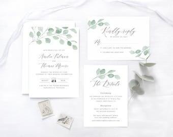 Botanische Hochzeitseinladung, hellgrün / Florale Hochzeitseinladung / Personalisierte Hochzeitseinladung / Hochzeitseinladung chic modern