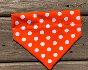 Orange Polka Dot Over The Collar Bandana
