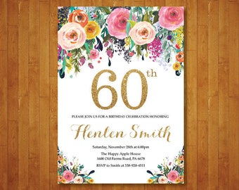 60th Birthday Invitation for women. Floral Birthday Invitation. Gold Birthday Invite. 40th 50th 70th 80th 90th Any Age. Printable Digital.