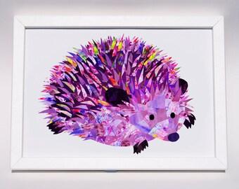 Hedgehog print,  Personalised collage hedgehog gift, Hedgehog lover art, Cute nursery animal print, Paper collage wall art, Nursery decor