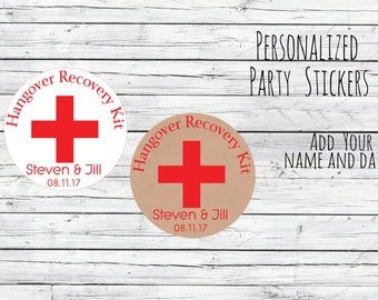 Personalized Kraft Hangover Kit, Wedding Stickers, Favor Tags, Labels, Thanks for Coming,Wedding Labels, Wedding Favour Stickers, Wedding
