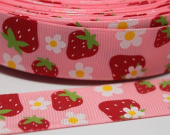 """Strawberry Print Dog Collar - Side Release Buckle (1"""" Width)"""