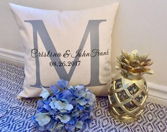 Mr and Mrs. Pillow, Wedding Pillow, Monogrammed Pillow, Wedding gift, Family Pillow, Housewarming Gift, Personalized Pillow, Wedding Pillow