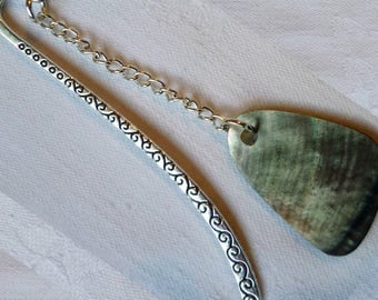 Bookmark, Tibetan Silver, Mother-of-pearl Pendant