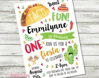 Taco Bout Fun Boy or Girl Birthday Invitation - Fiesta - Cinco De Mayo - One