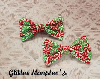 Christmas Candy Bow Tie,Infant-Adult Bow Tie,Holiday Bow Tie,Christmas Bow Tie,Clip on Bow Tie,Christmas Ring-bearer Tie, Peppermint Bow Tie