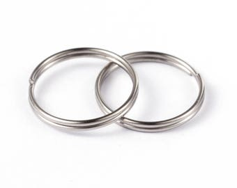 50 Pcs 15 mm Stainless Steel Split Rings | 304 Grade Stainless Steel Split Jump Rings | 15 mm Key Rings | Keyring | Split Key Ring | 0325