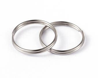 10 Pcs 15 mm Stainless Steel Split Rings | 304 Grade Stainless Steel Split Jump Rings | 15 mm Key Rings | Keyring | Split Key Ring | 0325