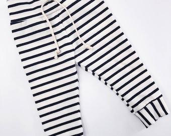 Black and off White stripe Leggings