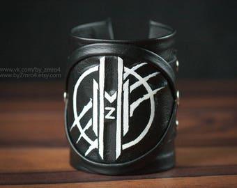 Rock Leather Cuff Bracelet, Metal Bracelet, Black Leather Cuff Bracelet,  Megaherz Fan Bracelet, Rock Band Bracelet, Bracelet with Logo